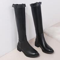 长靴女过膝靴骑士靴2018新款冬季加绒保暖皮靴中筒马丁靴长筒靴子 黑色