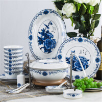 白领公社 餐具套装 56头骨瓷天鹅湖太阳岛青花陶瓷餐具