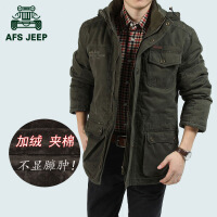 AFS JEEP棉衣男战地吉普中长款冬装外套冬季大码棉服棉衣男812