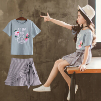 童装2018夏季新款女童STOP套装中大童短袖上衣+短裙两件套