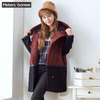 美特斯邦威毛呢大衣女中长款修身连帽拼接宽松显瘦韩版呢子外套