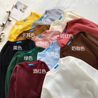 韩国ulzzang秋冬新款纯色加绒保暖长袖学生套头卫衣女棒球服外套