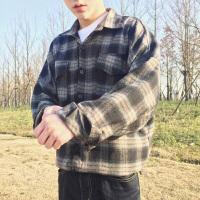 男士衬衣2018新款长袖男衬衫格子修身韩版潮流帅气春季寸衫外套
