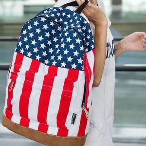 新欧美米字国旗双肩背包 时尚潮流女学生书包 帆布撞色背包