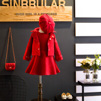 韩版 童套装冬季新款低背心裙+外套毛呢百搭公主时尚二件套A5-A25