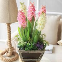 仿真花风信子紫罗兰实木花器套装绢花假花家居客厅装饰花瓶花艺摆件 粉白色套装