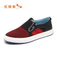 【领�幌碌チ⒓�120】红蜻蜓皮鞋春秋新款潮流男鞋低帮鞋正品套脚鞋休闲单鞋