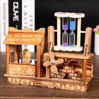 圣诞节礼物创意旋转音乐盒跳舞熊流沙摆件风车沙漏八音盒生日礼物