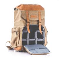 摄影包牛皮帆布单反双肩相机包户外休闲背包