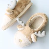 情侣冬季加厚毛绒可爱棉拖鞋女包跟保暖卡通防滑居家室内防水底