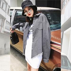 七格格港风短外套秋装新款女夏季薄韩版学生原宿风复古宽松休闲衬衫