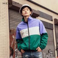 【2件2.5到手价:189】MECITY男装2019春季新款时尚复古立领撞色拼接茄克潮流外套