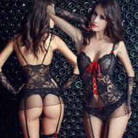 性感情趣内衣女蕾丝透明马甲吊带丝袜套装OL秘书制服极度诱惑sm骚