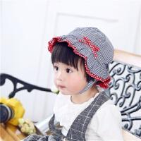 婴儿帽子女宝宝遮阳帽春夏秋天儿童盆帽公主帽蕾丝花边外出太阳帽 白色 藏青细条纹 均码