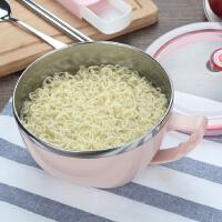 学生饭盒方便面碗易清洗 不锈钢泡面碗带盖大号宿舍碗碗筷套装
