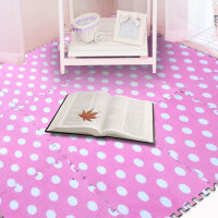 明德绒面圆点爬行地垫30*30*0.6�M 1片价客厅茶几儿童卧室床边满铺 拼接地垫