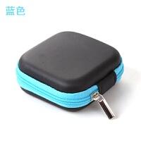 多功能手机充电器数据线收纳包迷你便携方形耳机收纳盒零钱整理包 蓝色 20g