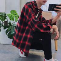 港风格子衬衫男士长袖宽松韩版潮牌薄款外套chic韩风男生衬衣qg 大红色 大红格子#1725