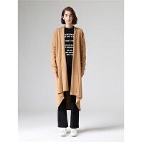 初语针织开衫女秋季新款休闲宽松保暖不规则中长款长袖毛衣