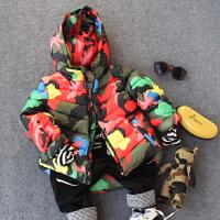 儿童连帽棉衣外套冬款中男童小孩加厚宝宝迷彩拉链衫棉袄