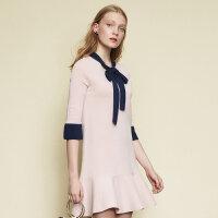 【1件4折到手价:107.96】美特斯邦威连衣裙女新款时尚甜美学院风针织连衣裙