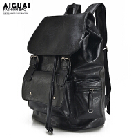 商务潮流翻盖抽带时尚背包学生书包男士旅行水桶包双肩包男韩版皮