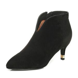 Tata/他她2017冬黑色羊皮小V口尖头靴细高跟女皮靴FNW40DD7