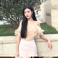 夏装女装新款chic韩版气质百搭欧根莎系带双层荷叶边吊带雪纺上衣