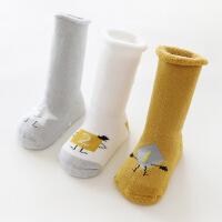 婴儿袜子秋冬季纯棉加厚防滑0-6个月3岁长筒新生儿男女宝宝地板袜