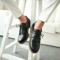 秋款流苏女童鞋儿童女孩黑色皮鞋学院风初中学生大童休闲深口单鞋SN6417