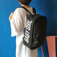 韩国原宿风简约休闲男女学生书包双肩包纯色字母印刷学院风背包潮