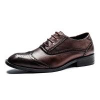 布洛克真皮男鞋复古雕花男士商务正装皮鞋大码英伦透气牛皮婚鞋 38-44