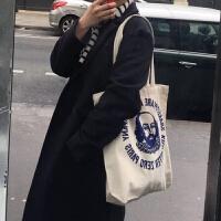 韩国简约字母港风ins帆布袋女包chic购物袋单肩学生帆布包大包包