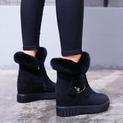2018冬季新款兔毛雪地靴女真皮加绒短靴内增高学生女靴短筒棉鞋子