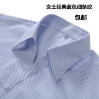 女士短袖白底蓝色细条纹工装衬衫银行职员V领条纹衬衣大码工作服