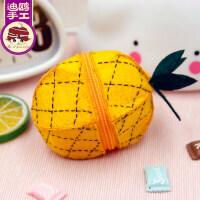 甜心菠萝零钱包迷你 可爱 韩国不织布艺手工diy 制作 成人材料包
