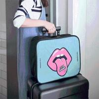 短途出门旅行包女轻便可爱韩版拉杆旅游出差男小手提包行李收纳袋 绿色 38cm*27cm*16cm 大