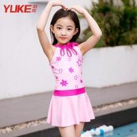 儿童泳衣女孩宝宝公主裙式游泳衣女童中大童连体可爱防晒泳装 粉色星星
