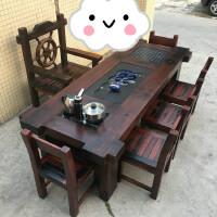 老船木茶桌椅组合实木家具中式客厅阳台茶室休闲茶几茶台泡茶桌椅 +4靠背+送船舵主人椅 整装