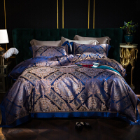 伊迪梦家纺奢华提花真丝床上用品四件套桑蚕丝欧式贵族宫廷风1.8/2.0米床单被套卧室套装套件BJ11
