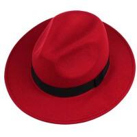 男士秋冬天 黑色大檐礼帽 女 英伦爵士帽子 结婚帽子新郎帽子