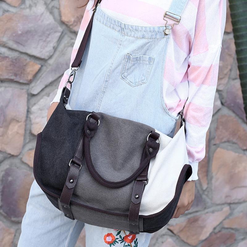 2017新款帆布包女包手提包单肩包斜挎包拼接撞色女士简约大包包