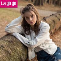 【618大促-每满100减50】Lagogo/拉谷谷2018年春季新款时尚圆领拉链长袖针织衫