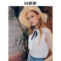 Lagogo/拉谷谷2019年夏季新时尚领结学院风女无袖衬衫HACC135A20