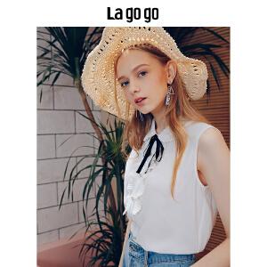 Lagogo/拉谷谷2018年夏季新时尚领结学院风女无袖衬衫HACC135A20