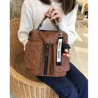 时尚女包新款休闲双立体口袋多用包单肩包竖版韩版手提包 棕色