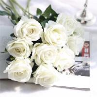 室内单支仿真玫瑰花假花套装高档客厅餐桌装饰花干花花束摆件摆设