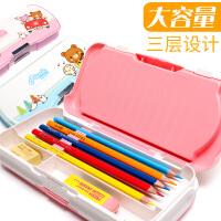 得力文具盒铅笔盒男女小学生幼儿园儿童1-3年级男孩女孩一年级韩国多功能创意塑料笔盒可爱公主简约文具盒子