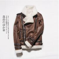 冬装外套加绒加厚情侣麂皮绒翻领羊羔毛皮毛一体男女机车皮衣夹克