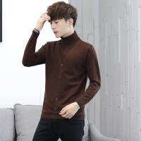 2018秋冬季新款男士韩版高领毛衣潮流纯色假两件线衣针织衫外